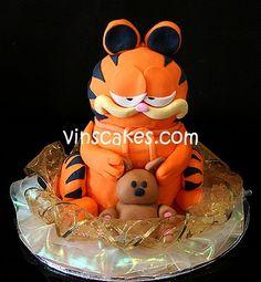 Garfield and Pookie Garfield Cake, Garfield Birthday, One Month Baby, Friends Cake, Cupcake Birthday Cake, Fondant Toppers, Heart For Kids, Wedding Cupcakes, Cake Shop