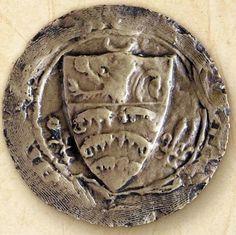 [trois broyes, au chef chargé d'un lion issant, écu de Joinville entouré d'un croissant, d'une rose et d'une fleur de lis], sceau de la ville de Joinville (©Archives de l'Aube, D5483) -- see more at: «Les Joinville-Geneville»