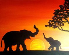Elefant Sonnenuntergang trifft afrikanische Weisheit by ArtbyHannahBonacci on Et. - Elefant Sonnenuntergang trifft afrikanische Weisheit by ArtbyHannahBonacci on Etsy - juanita - African Art Paintings, Animal Paintings, Easy Paintings, Abstract Paintings, Arte Black, Art Sur Toile, Afrique Art, Acrylic Painting Canvas, Elephant Canvas Painting