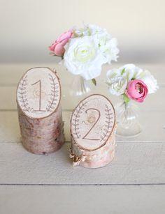 Números de mesa rústica abedul Laurel corona granero país boda decoración NEW 2014 diseño de diseños Morgann Hill