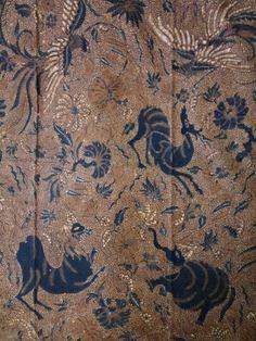Vintage Batik sogan solo central java 1940-1950,forest animal or alas utan,beauty of wild life in hand write batik.