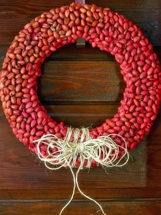DIY Red Pistachio Wreath --> http://www.hgtv.com/handmade/creative-holiday-decorations-for-your-front-door/pictures/page-2.html?soc=pinterest