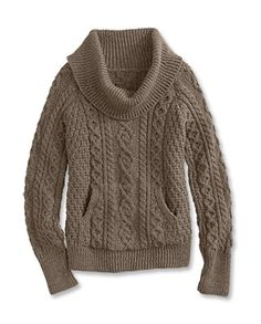 Cowlneck Irish Wool Sweater This women's Aran sweater by Carraig Donn is styled for classic elegance and comfort.