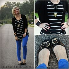 black/white striped top, black cardigan, blue skinnies, leopard shoes