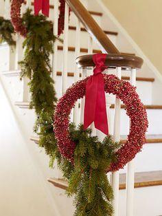 Pine and wreath Christmas decor