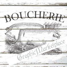 Pig Farm Farmers Boucherie Vintage Transfer by GraphicMarketplace, $1.00