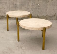 """Side Tables – Travertine and brass plate 3 legs / 20"""" diameter x 13"""" t"""