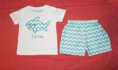 Boys+Chevron+Appliqued+Shark+Shorts+and+tshirt+by+SewSewMarvelous,+$32.00