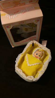 "Vintage 7"" Baby Thumbelina Doll Box Yellow Outfit Blanket and Cloth Playpen 