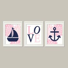 Nautical Decor Nursery Art Floral Pink Navy Wall Art Anchor Sailboat Love Set of 3 Prints Baby Girl Nursery Bathroom Bedroom Decor Bedding Nautical Baby Bedding, Navy Nursery, Nautical Nursery Decor, Floral Nursery, Nursery Prints, Nursery Wall Art, Girl Nursery, Nursery Ideas, Lavender Bathroom