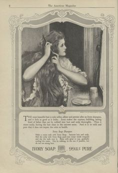 1918 Ivory Soap Print Ad Lovely Lady Combs Long Hair