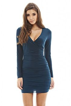 b47436dea4d Amazon.com  AX Paris Women s V Front Slinky Ruched Dress(Teal