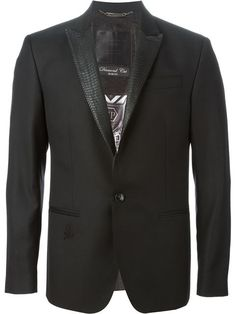 One button peak lapel jetted pocket blazer
