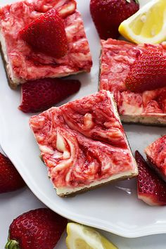 Strawberry Lemon Cheesecake Bars - thick buttery graham cracker crust topped with lemon strawberry-swirled cheesecake! Chill them for a…