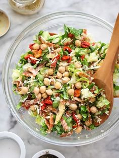 La Scala Inspired Chopped Salad with Marinated Chickpeas | foodiecrush.com
