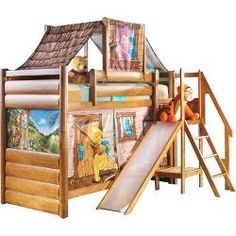 This Winnie the Pooh Bunk Bed is the bed to make your kid's bedroom built in the Hundred Acre Woods. The bed end have a log cabin effect while the picturesque Cabin Bunk Beds, Loft Bunk Beds, Modern Bunk Beds, Kids Bunk Beds, Bunk Bed With Slide, Childrens Bunk Beds, Shared Bedrooms, Rooms For Rent, Kids Bedroom
