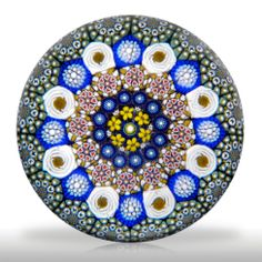 Mike Hunter 2013 concentric millefiori with pansies, roses and a bull's-eye paperweight.