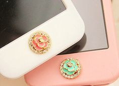 1 pcs Bling Crystal Flower iPhone Home Button Sticker for iPhone 4,4s,4g, iPhone 5, iPad, Cell Phone Charm on Etsy, $4.98