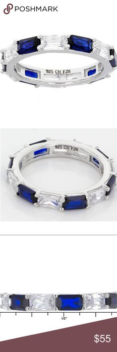 """Blue Sapphire Simulant & White Diamond Simulant Blue Sapphire Simulant 3.86ctw Baguette And White Diamond Simulant 4.35ctw Baguette, Rhodium Over Sterling Silver Ring. Measures Approximately 1/8""""l X 1/8""""w And Is Not Sizeable. See pic 5 for additional information. New in box. Size 7 Jewelry Rings"""