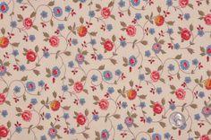 FC12863C Cream/Antique Blue/Rose/Olive Floral Batiste