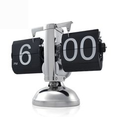 Retro and Incredibly Slick looking Gear Operated Metallic Flip Down Clock for adding Flair to any desktop or Table. Cool Gadgets Electronics Gadgets Retro flip Clock Retro flip down Clock – Internal Gear Operated