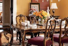 St. Tropaz Dining Table. Wood carved table in select hardwood solids, cherry and walnuts.  http://divineinteriorshomefurnishings.com