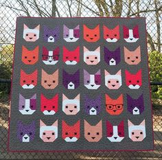 Kitten Quilt PDF from Oh Fransson - includes pieces faces and plain faced kitties! :D