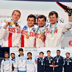 European Fencing Championship Torun 2016 team podium: Gold RUSSIA, Silver ITALY and Bronze GREAT BRITAIN (Photos: Augusto BIZZI)