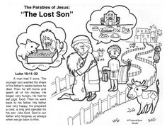 The parable of the Lost Son Free Bible Coloring Pages, Preschool Coloring Pages, Bible Activities For Kids, Church Activities, Bible Story Crafts, Bible Stories, Parables Of Jesus, Funeral Quotes, Cool Doodles