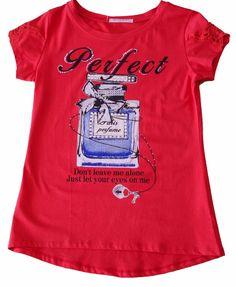 t.shirt maglietta donna ragazza coton applicazione paillets perfume tg. S/M-L/XL