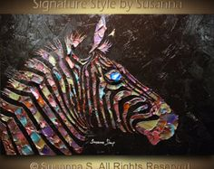 Metallic bronze, gold and teal giraffe on white and pearl- Edges painted white (black optional).  This listing is for a CUSTOM Made to Order ORIGINAL painting of a previously sold one, seen in the images above. Your painting will be the same size, and SIMILAR composition/colors.  more figurative abstracts can be found here: http://www.etsy.com/shop/ModernHouseArt?section_id=7215201  -Dominant colors: white, metallic bronze, gold and teal -Medium: Acrylic -1.7 Deep gallery back wrap stretched…