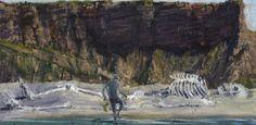 Euan MacLeod (New Zealander, b. 1956), On the Beach, 2014. Oil and acrylic on linen, 89 x 180 cm.