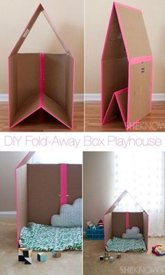 DIY folding cardboard play house you are in the right place for diy kid room ideas . - DIY folding cardboard play house You are in the right place for diy kid room ideas childs bedroom H - Cardboard Box Playhouse Diy, Diy Cardboard, Cardboard Box Ideas For Kids, Cardboard Castle, Cardboard Furniture, Cardboard Box Houses, Playhouse Ideas, Indoor Playhouse, Cardboard Recycling