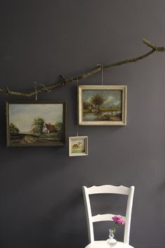 Very unique way to hang pictures. #DIYDriftwood