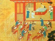 A portrait of scholar officials taking their advanced civil exam.