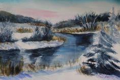 akvarell watercolor landscape maastik river Teenuse jõgi 3 Keiu Kuresaar