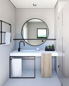 Home Interior Layout Mirror With Shelf Q.Home Interior Layout Mirror With Shelf Q Modern Bathroom Design, Bathroom Interior Design, Decor Interior Design, Interior Decorating, Minimal Bathroom, Decorating Ideas, Decor Ideas, Simple Interior, Interior Ideas