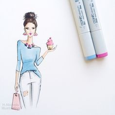 Woohoo! Thank you all for helping me reach 50k (and then some...I'm a little late) AND I've officially made it through my first year as a full-time freelancer. Sharing some lessons I've learned this year on the blog today! Enjoy this virtual cupcake  #fashionillustration #fashionillustrator #freelancer #bostonblogger #copicmarkers #cupcakes