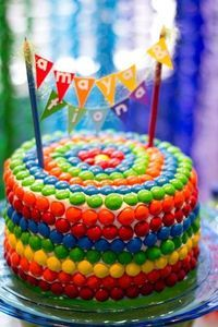 cake decorated with Skittles