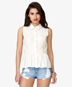 Romantic Floral Georgette Top   FOREVER 21 - 2037425459