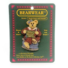 Boyds Bears Resin Vera Stitchkeeper Pin Height: 2.25 Inches Material: Polyresin Type: Pin Brand: Boyds Bears Resin Item Number: Boyds Bears Resin 26050 Catalog ID: 29638 New. Bearwear From Boyds Bears