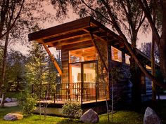 At first glance, the 400-square-foot Wedge, designed by Wheelhaus, appears to be a tiny luxury cabin but it's actually a mobile Park Model RV. Lofty 17-foot ceilings. A 100-square-foot deck offers additional entertaining space. The Wedge is one of six turn-key models offered by Wheelhaus that start from $82,000.
