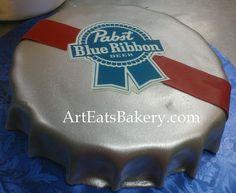 Pabst Blue Ribbon beer bottle cap custom groom's cake design | Flickr - Photo Sharing!