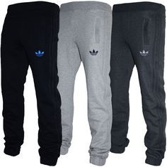 Mens Adidas Originals SPO Fleece Trefoil Tracksuit Pants Bottoms Grey Black  S-XL in dcc9f07a4e
