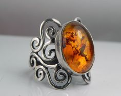Baltic Amber Swirl Ring - Unique Silver Amber Jewelry - Antique Swirls - Vintage Inspired Filigree