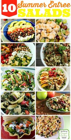10 Totally Satisfying Summer Salad recipes! Leafy salads, pasta salads, quinoa salads and more!