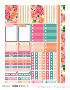 Watercolor Flowers Planner Stickers