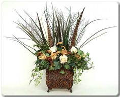 Silk Flower Arrangements Ideas | Artificial Flower Arrangements | Flowers In The Garden Brown Flowers, Faux Flowers, Silk Flowers, Artificial Floral Arrangements, Artificial Flowers, Flower Arrangements, Crafts To Do, Diy Crafts, Fall Planters