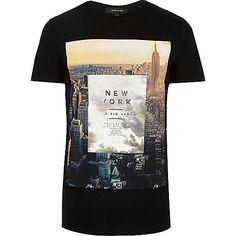 "Schwarzes T-Shirt mit ""New York City""-Print"
