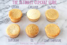 The Ultimate Cupcake Guide shows how different ingredients and techniques make cupcakes light, greasy, fluffy, dense, crumbly, or moist! from Handletheheat.com @Handle the Heat | Tessa Arias